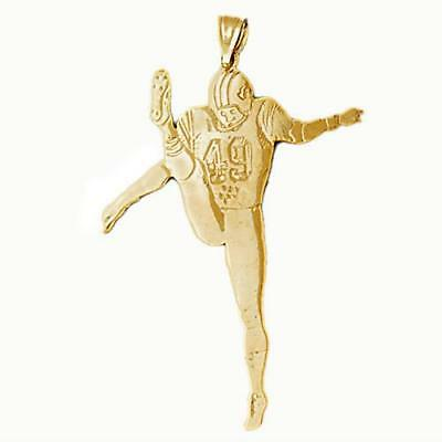 New 14k Yellow Gold Football Player Pendant