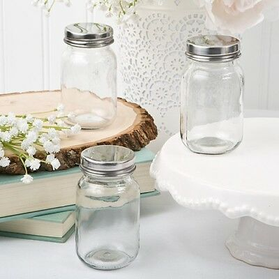 40 Glass Mason Candy Jars Silver Lids Wedding Bridal Baby Shower Party -