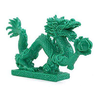 "Feng Shui 9"" Jade Green Dragon Base Statue Figurine Wealth Luck Gift US Seller"