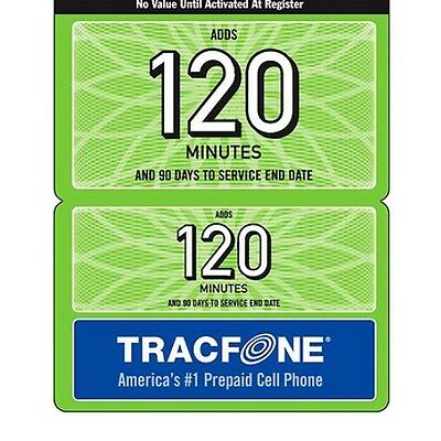 Tracfone Wireless 120 Minute Refill Card 90 Days Of Servi...