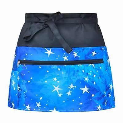 Server Aprons Waitress Blue Half Waist Apron With Zipper Pockets Blue Star