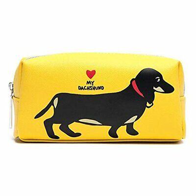 MARC TETRO YELLOW DACHSHUND MAKE UP COSMETIC SMALL BEAUTY BAG sausage dog