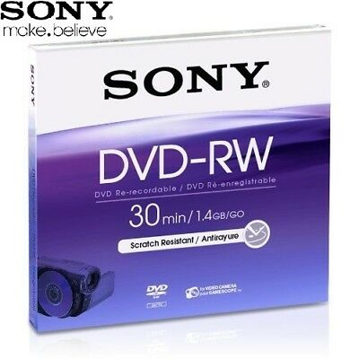 SONY DVD-RW 1.4GB 8cm 30min Rewritable Camcorder Mini DVD Disc Jewel Case Pack 5
