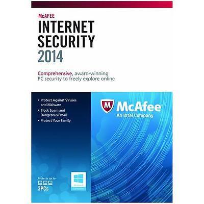 McAfee Internet Security 2014/2015 1 Year 3 User PC Anti Virus Software RRP £50 (Antivirus-software 2015)