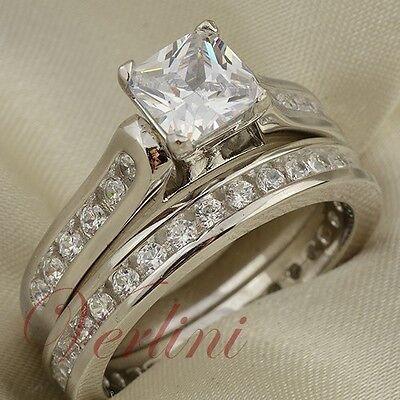 2.5 Ct Princess Cut Aaa Cz Womens Wedding Ring Set 925 St...