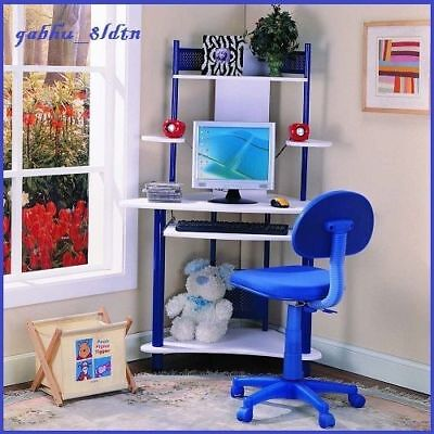 Center Table Furniture (Boys Computer Writing Center Table Desk Hutch Workstation Study Blue)