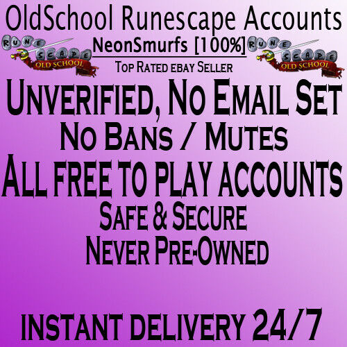 ⭐ Old School Runescape OSRS Accounts No Ban Safe No Email Set Unverified ⭐