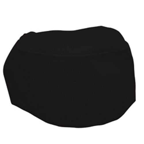 6 Pack Fame Fabrics C24 Black Chef Beanie w/Mesh Top Adult One Size Fast Ship!