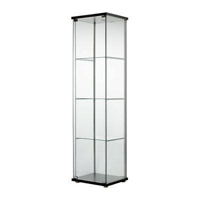 Glass Door Display Cabinet Black Brown Retail Boutique Jewelry Showcase IKEA NEW