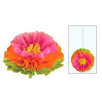 HAWAIIAN LUAU HIBISCUS FLUFFY DECORATIONS (3) ~ Birthday Party Supplies Flower (Luau Birthday Party Decorations)