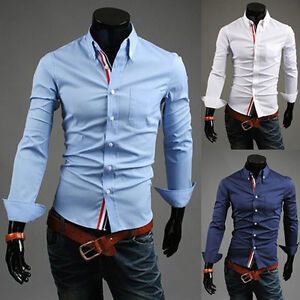 New mens slim fit dress shirts fashion casual italian for Italian style dress shirts