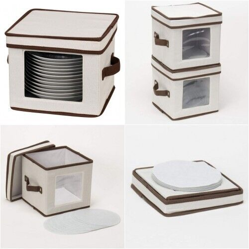 Dinnerware Storage Box Dessert Plate Bowl Dish Bin Hamper Pr