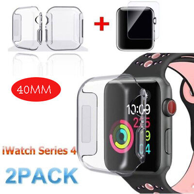 2X For Apple Watch Series 4 Tempered Glass Screen Protector + Soft TPU Case 40mm