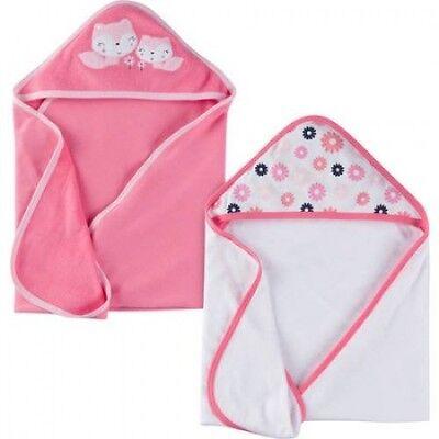NEW Gerber Baby Girl Infant Hooded Towel Set 2 Pack Set