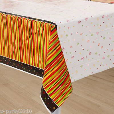 FIESTA STRIPES PLASTIC TABLE COVER ~ Birthday Party Supplies Decorations Orange](Orange Plastic Table Cover)