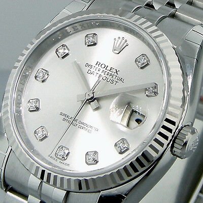 ROLEX 116234 DATEJUST 36 mm MENS STEEL JUBILEE BRACELET SILVER DIAMOND