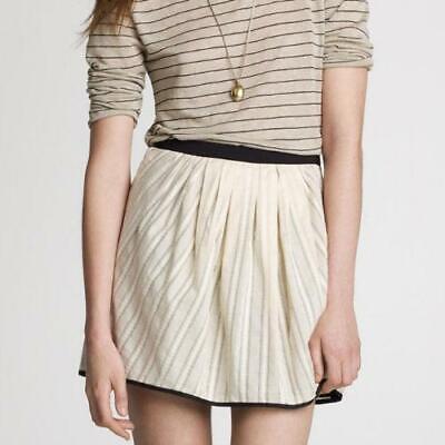 NWOT J. Crew Black & Cream Cotton Voile Pleated Skirt, Size 4