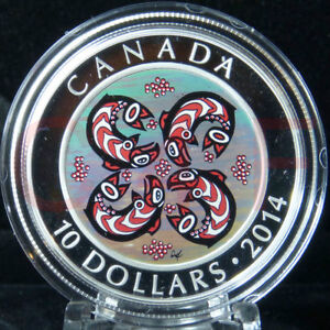 2014 $10 First Nations Art: Salmon Hologram Silver Coin