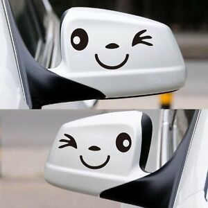 SMILE FACE WINK CAR WING DOOR MIRROR STICKERS DECALS FUNNY NOVELTY GIFT