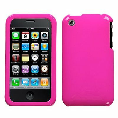 Iphone 3g Hard Snap (For Apple iPhone 3G 3GS Snap On Rubberized Hard Plastic Case Cover Hot Pink)