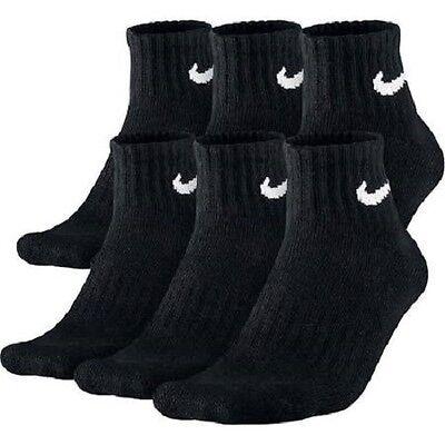 NIKE MEN'S BLACK CUSHIONED QUARTER SOCKS - L (Shoe Size 8-12) - 6 PAIRS/PACK