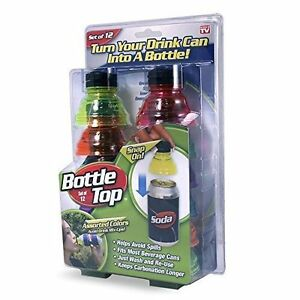 New As Seen On Tv Snap On Bottle Top Turn Your Drink Can Into A Bottle Set Of 1