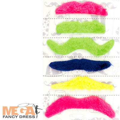 Rainbow Bright Costume Adult (Bright 6 Moustaches Set Mens Fancy Dress Stag Rainbow Pride Adults Costume)