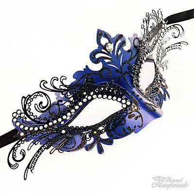 3d Laserschnitt Mardi Gras Halbschuhe Maskenball-Maske für Damen [Königsblau]