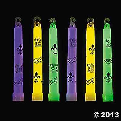 Mardi Gras Print Glow Sticks 12 Piece Party Favor - Printed Glow Sticks