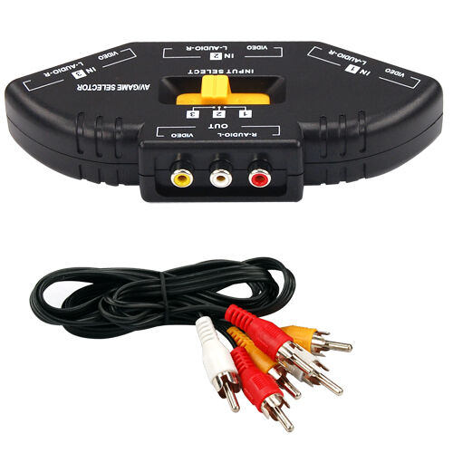 3 Port AV Composite & Audio RCA Phono Selector Switch Hub Cable TV Xbox 360 PS3