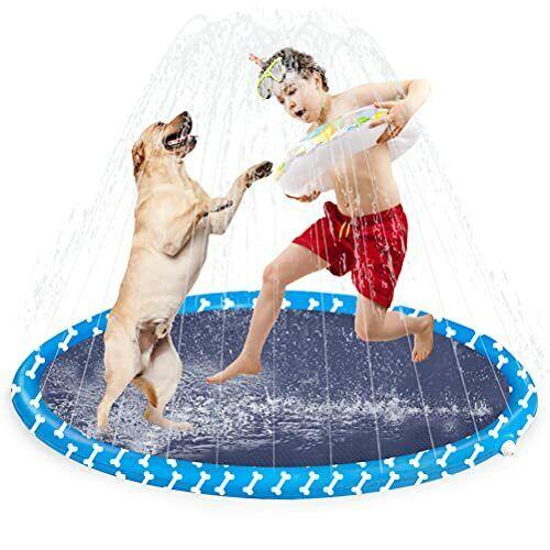 Splash Pad Sprinkler for Dogs - Summer Outdoor Water Splash Pad, 50 Inch