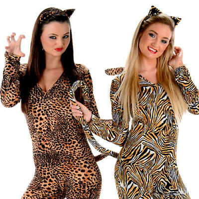 Wild Cat Suits Ladies Fancy Dress Adults Animal Print Womens Halloween Costumes (Cat Animal Halloween Costumes)