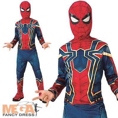 Iron Spider-Man Boys Fancy Dress Superhero Infintity War Childs Kids Costume