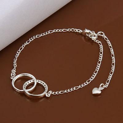 Sterling Silver 925 Double Ring Crystal Anklet Adjustable Free Gift Bag