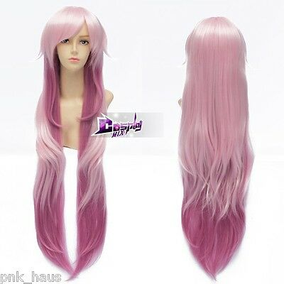 Anime Cosplay NEKO Cat Perücke Kostüme Mixed Rosa 100cm Layered Wig Curly Haare