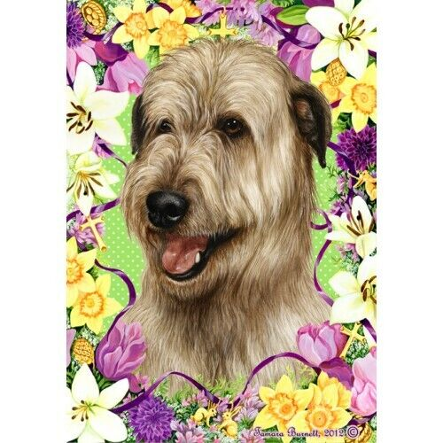 Easter House Flag - Wheaten Irish Wolfhound 33330