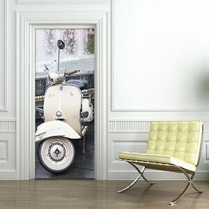 Pt0122 wall stickers adesivi murali porte decorate porta vespa vintage 100x210cm ebay - Porte decorate adesivi ...