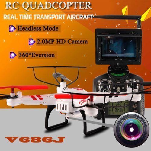 WLtoys V686J Headfree 2.4GHz 4CH 6 Axis Gyro RC Quadcopter Drone HD Camera NEW