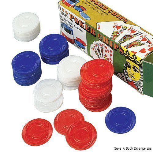 1000 PLASTIC POKER CHIPS 1 1/2 INCH DIAMETER RED WHITE & BLUE RETAIL BOXED