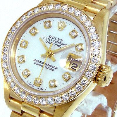 ROLEX 18K YELLOW GOLD PRESIDENTIAL WHITE MOTHER PEARL DIAMOND DIAL BEZEL