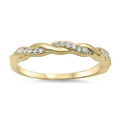 Gold Tone White CZ Wedding Ring .925 Sterling Silver Stackable Band Sizes 4-10