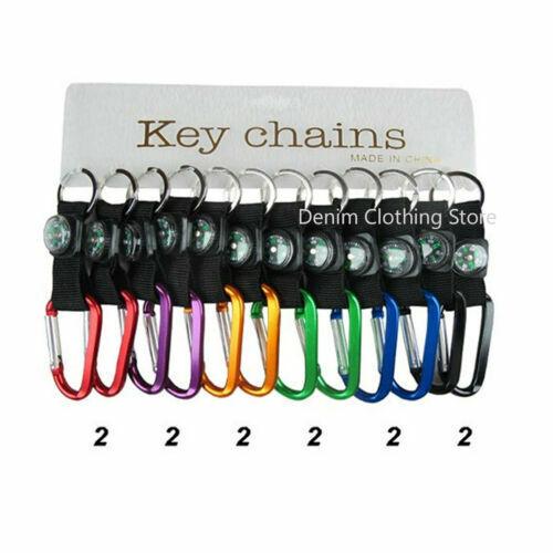 12 pieces Assorted Colors Carabiner / Black Strap Keyring Ke