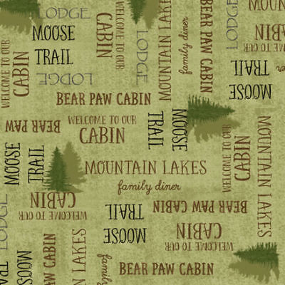 Moose Trail Lodge - MOOSE TRAIL LODGE 27785 G    QT    100% Cotton Fabric by priced by 1/2 yd