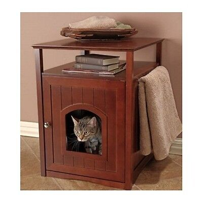 Litter Box Furniture Hidden Cat Dog Bed Side Table Bathroom Stand Walnut Wooden