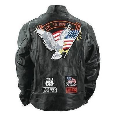 Mens Buffalo Leather Jacket Biker Motorcycle Harley Rider Eagle USA Flag Patches Flag Leather Vest