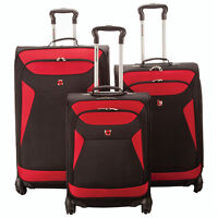 *SWISS GEAR* SW36773 3Pc Expand. SPINNER LUGGAGE SET - RED/BLK
