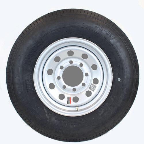 "16"" 8-6.5"" Bolt Circle Silver Modular Wheel and ST23580R16E Radial Trailer Tire"