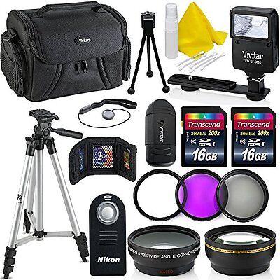 Professional 55MM Accessory Bundle Kit For Nikon D3400 D5600 D3300 AF-P & DSL...