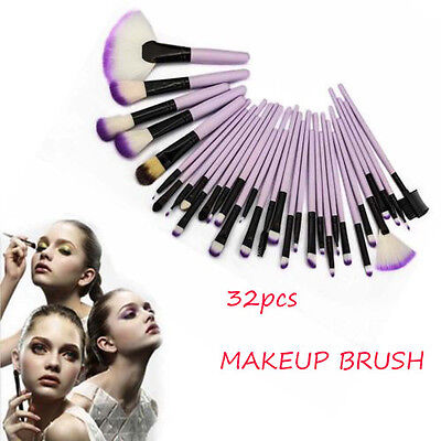 PRO Purple 32X Profession Superior Soft Cosmetic Makeup Brush Set Kit+Pouch Bag
