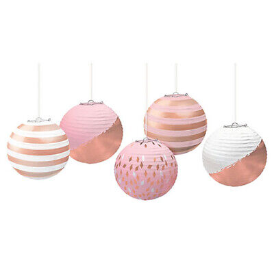 Gold Paper Lanterns (ROSE GOLD BLUSH MINI PAPER LANTERNS (5) ~ Wedding Birthday Party Supplies)